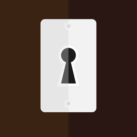 key hole: Vector illustration silver keyhole in wooden door. Key hole icon