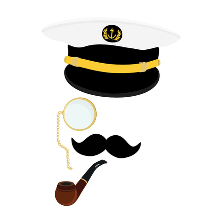 captain cap: Vector illustration navy cap with golden anchor and laurel wreath. Navy captain hat with black moustache, monocle and smoking pipe Illustration
