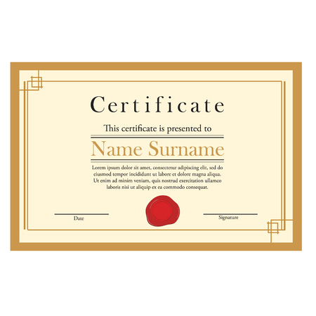 wax stamp: Vector illustration of certificate template with red wax stamp and golden frame. Certificate border. Modern certificate