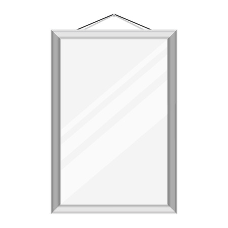 mirror frame: Vector illustration realistic mirror with silver, metallic frame hanging on the wall  template design.
