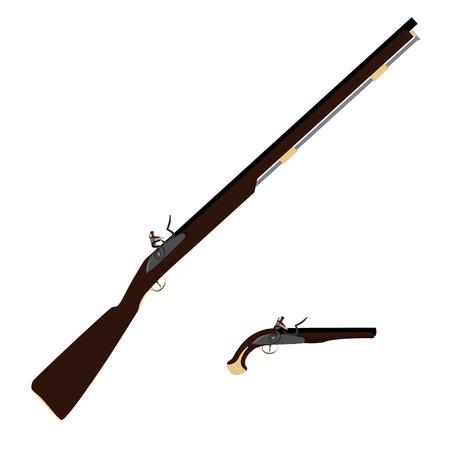 flint gun: Vector illustration of old fashioned rifles and vintage musket gun  Muskets or flintlock gun.
