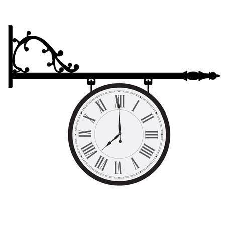 numeros romanos: ilustraci�n vectorial colgando reloj de la calle de la vendimia con n�meros romanos. reloj de la calle retro Vectores