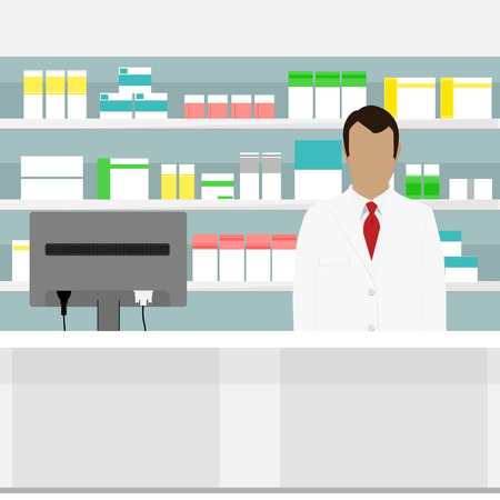 druggist: Vector illustration young pharmacy chemist man standing in drugstore. Male pharmacist at the counter in a pharmacy opposite the shelves with medicines. Health care conceptual background