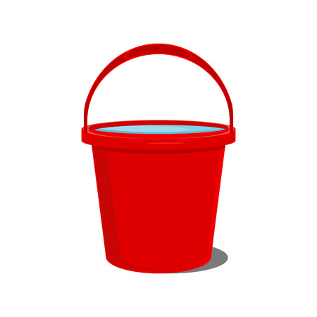 Vector illustration full of water red bucket icon, sign or symbols for app. Bucket for garden