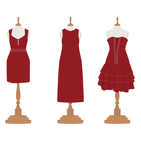 bordo: Vector illustration set of three red, bordo different design elegant cocktail and evening woman dresses on mannequin for boutique. Illustration