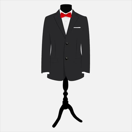 Vektor-Illustration eleganten, modernen Geschäftsmann schwarzen Anzug mit roter Fliege und weißem Hemd auf Mannequin. Anzug Symbol