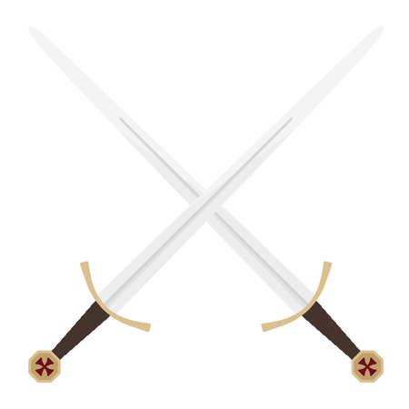 Vector illustration two crossed  swords of knights templar . Medieval weapon