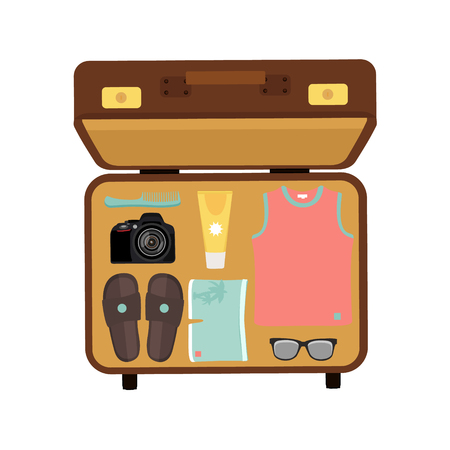 packing suitcase: Vector illustration packed suitcase for summer holiday top view. Travel luggage. Traveler packing.