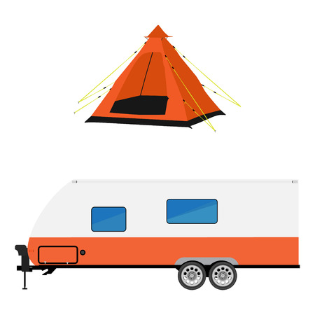 camper trailer: Vector illustration recreative vehicle and orange camping tent. Trailer capmer. rv camper trailer icon. Modern realisctic caravan
