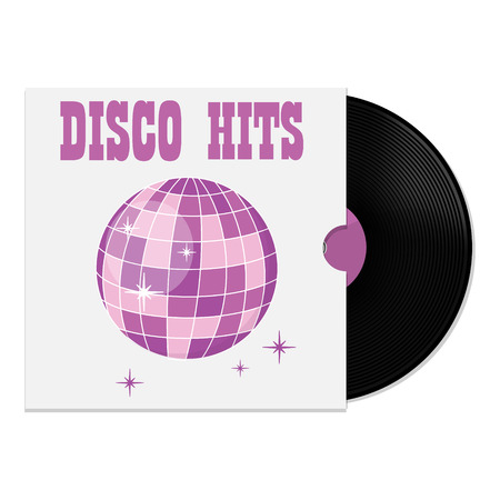 hits: Vector illustration of vinyl record in cover with party disco ball disco hits