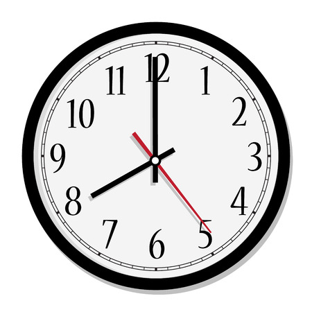 o'clock: Vector simple classic black and white round wall clock isolated on white. Clock on wall shows eight oclock