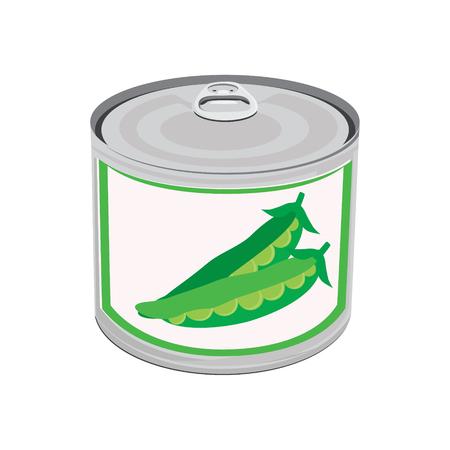 Vector illustration la nourriture en conserve. Petits pois. Deux peapod. Boîte métal peut
