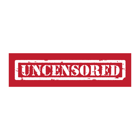 intact: Vector illustration red grunge rubber stamp with text uncensored isolated on white background Illustration