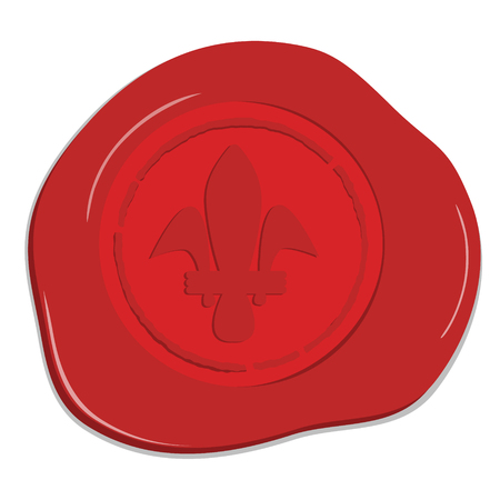 wax stamp: Vector illustration red wax seal with heraldic lily. Red wax post stamp isolated on white background