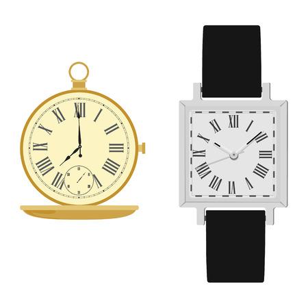 numeros romanos: reloj de pulsera cl�sico ilustraci�n vectorial los hombres anal�gicas con correa de cuero negro y el reloj de bolsillo de oro. reloj de bolsillo de la vendimia. Reloj con n�meros romanos