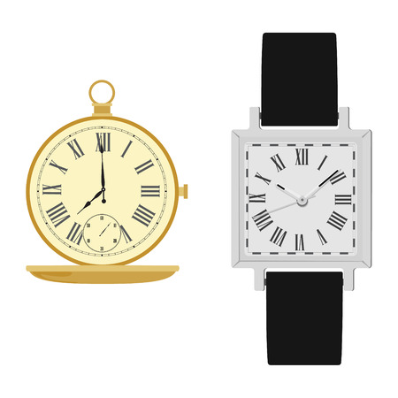 numerals: Vector illustration classic analog men wrist watch with black leather band and golden pocket watch. Vintage pocket clock. Watch with roman numerals