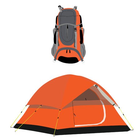 mochila de viaje: Naranja tienda de campaña y una mochila de viaje trama conjunto aislado, materia de los viajeros, equipos