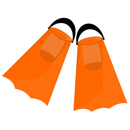 flippers: Orange flippers, flippers isolated,diving equipment, swimming tourism