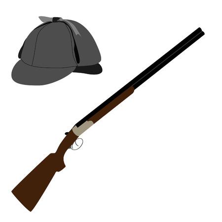 fusil de chasse: Sherlock maisons chapeau ou détective chapeau et fusil de chasse raster illustration. Vieux fusil classique et deerstalker chapeau Banque d'images