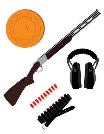 Skeet rifle,headphones for shooting, buckshot and clay disk, hunting rifle, sport equipment, Stock fotó - 55644851