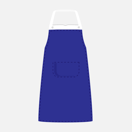 barbecue stove: Vector illustration blue kitchen apron with pocket. Kitchenware apron design isolated on grey background