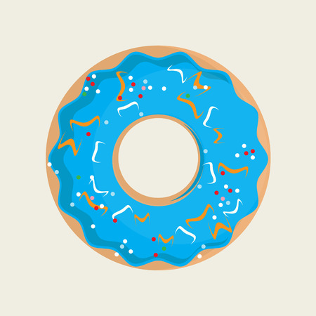 glaze: Vector illustration sweet donuts top view with blue glaze. Donuts icon set. Tasty donuts