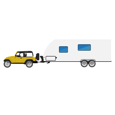 camper trailer: Vector illustration yellow car with camper trailer driving