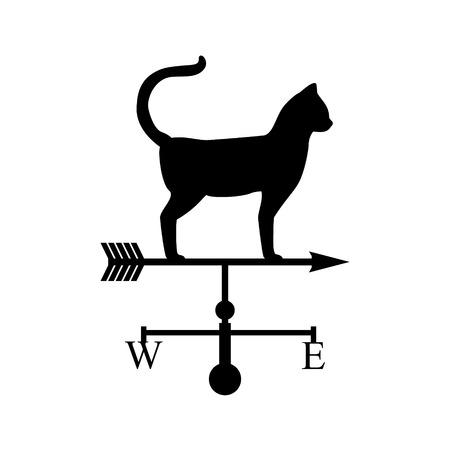 weathervane: Vector illustration weather van with cat. Black silhouette cat. Weathervan