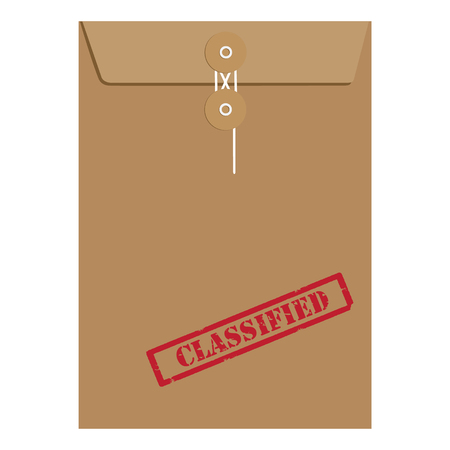 classified: Vector illustration brown paper envelope sealed with string with red grunge rubber stamp with text classified Illustration
