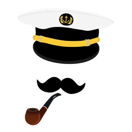 captain cap: Vector illustration navy cap with golden anchor and laurel wreath. Navy captain hat with black mustache and smoking pipe