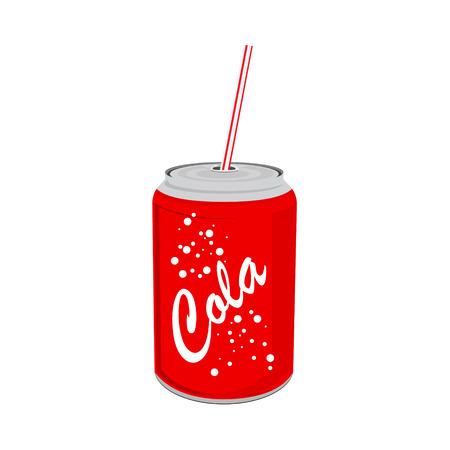 Ilustracji wektorowych napój może z słomy. Czerwona cyna cola może z etykietą. Ikona sody.