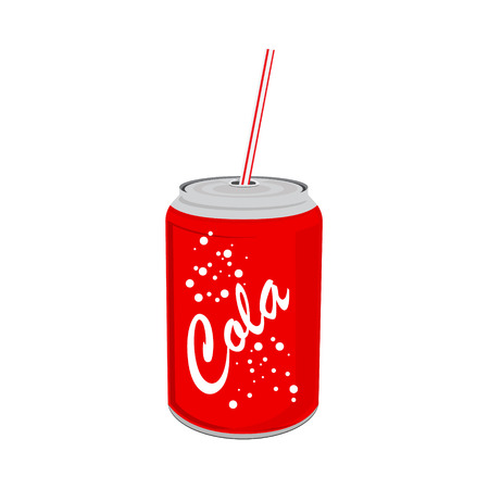 Vector illustration beverage can with straw. Red tin cola can with label. Soda can icon.