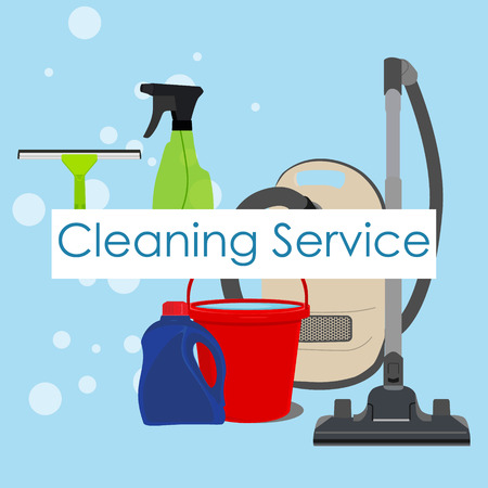 cleaning service: Vector illustration poster, background, wallpaper with cleaning tools, supplies for cleaning service. Cleaning service logo