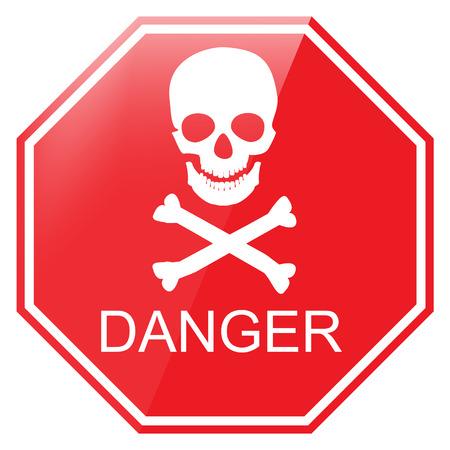 Vector illustration red octagon danger sign with skull symbol. Warning sign  イラスト・ベクター素材