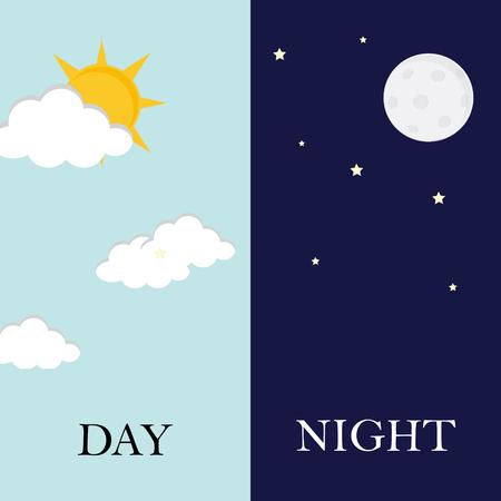 Vector illustration du jour et de la nuit. Jour concept de nuit, le soleil et la lune, icône de jour nuit Banque d'images - 55645452