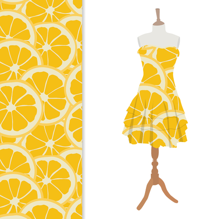 orange dress: Vector illustration beautiful, cute woman dress on mannequin for boutique. And seamless pattern with orange slices Illustration
