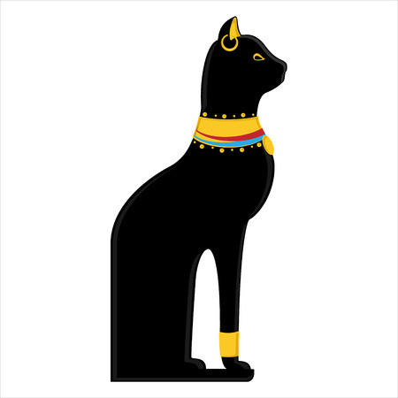 Vector illustration of a black sitting Egyptian cat isolated on white background. Bastet egypt cat