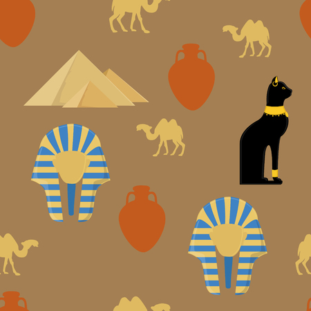 giza pyramids: Vector illustration egypt seamless pattern with symbols of Egypt. Egypt cat, giza pyramids, amphora, camel and pharaoh mask
