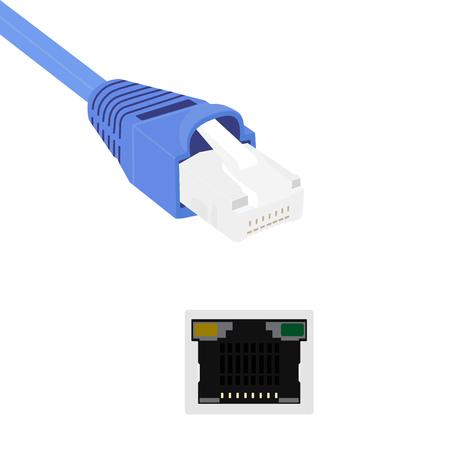 Vector illustratie blauwe realistische ethernet netwerkkabel en de haven. Kabel-icoon. Ethernet-aansluiting voor mobiele apps, websites