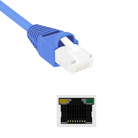 ethernet cable: Vector illustration blue realistic ethernet network cable and port. Cable icon. Ethernet connector for mobile apps, web sites Illustration
