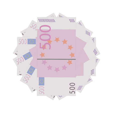 one hundred euro banknote: Vector illustration five hundred euro banknotes isolated on a white background. Stack of paper money in flat design. Money icon