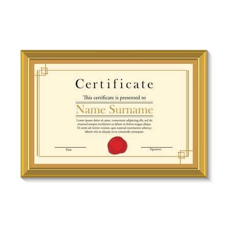 Ilustración del vector de la plantilla de certificado con sello de cera roja en marco de oro. Certificado de frontera. certificado moderna