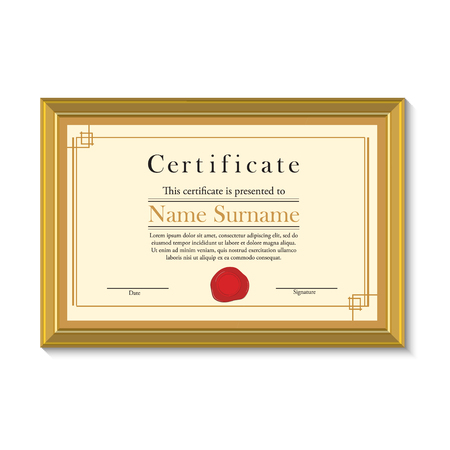 wax stamp: Vector illustration of certificate template with red wax stamp in golden picture frame. Certificate border. Modern certificate Illustration