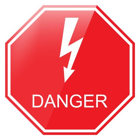 high voltage symbol: Vector illustration red octagon danger sign. Danger warning sign. High voltage symbol Illustration
