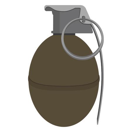 lanzamiento de bala: ilustración vectorial granada militar bomba explosiva, arma del ejército. icono de granada. ataque armado estalle