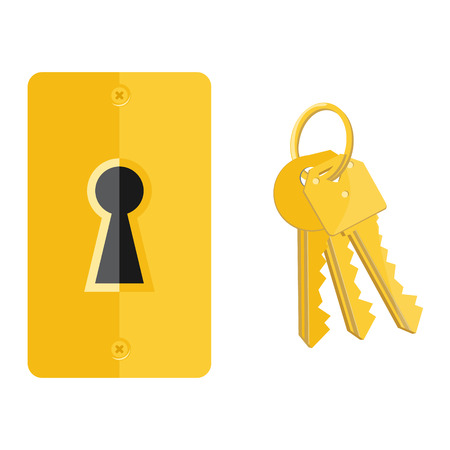 key hole: Vector illustration golden key hole and bunch of keys. Keyhole and key icon set, collection