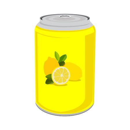 Ilustración del vector de latas de bebidas con limones. bebida de limón puede icono. estaño amarilla aislada en el fondo blanco. jugo de la fruta del limón Ilustración de vector