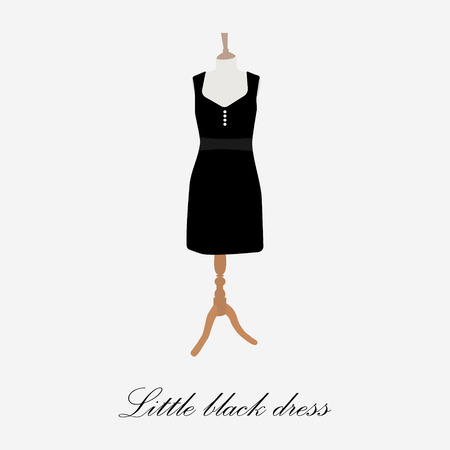 little black dress: Black dress on mannequin vector illustration. Cocktail dress. Woman black dress icon. Little black dress Illustration
