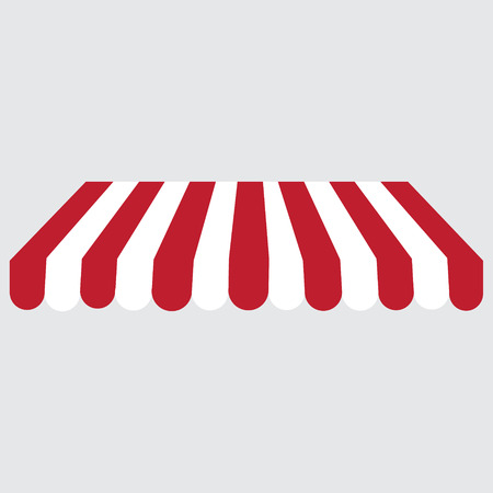 an awning: Striped red and white shop,store window awning vector icon. Striped awning, canopy