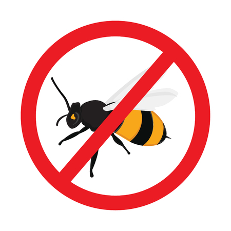 insect repellent: Honey bee  vector icons. Bumblebees symbol. Sticker with Warning sign bee icon. Prohibition red symbols. Illustration